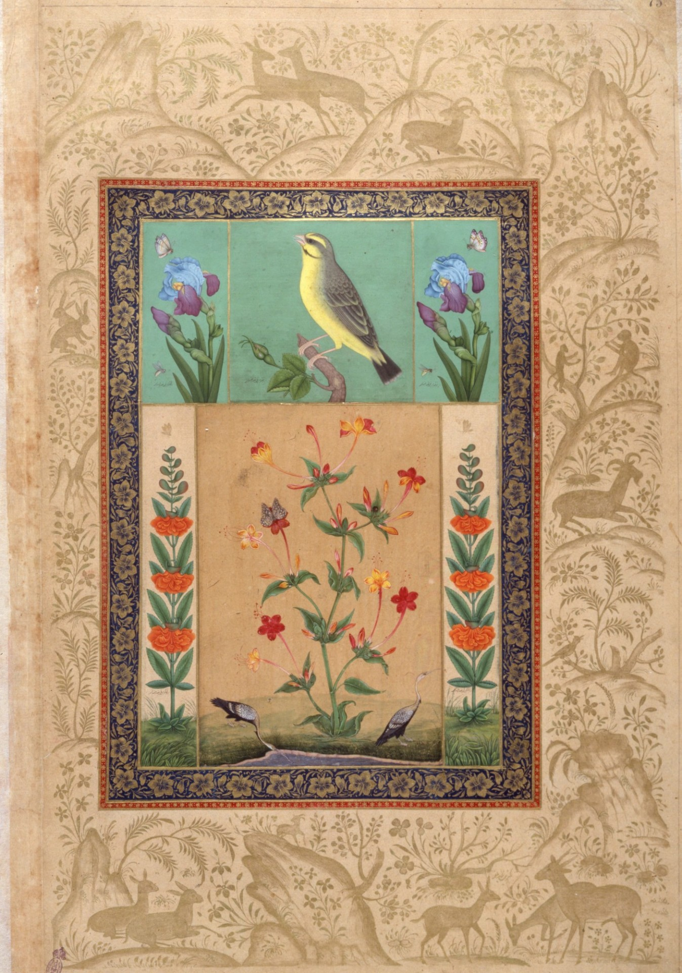 Bird and Flowers (List, no. 121). Iran mid-18thcentury (Institute of Oriental Studies, Russian Academy of Sciences, St. Petersburg, E-14, fol. 75).