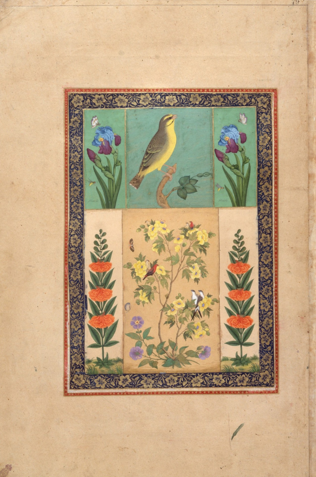 Bird and Flowers (List, no. 122). Iran, mid-18thcentury (Institute of Oriental Studies, Russian Academy of Sciences, St. Petersburg, E-14, fol. 79).